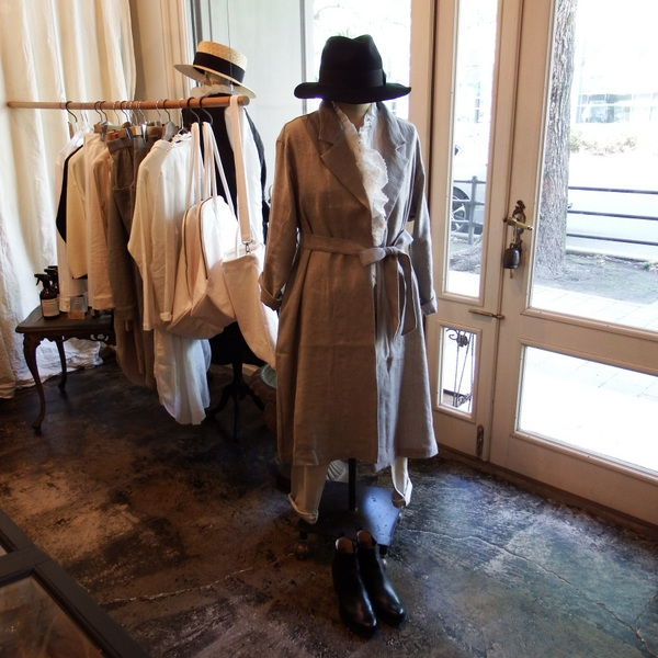 nest Robe : wool linen gauze coat